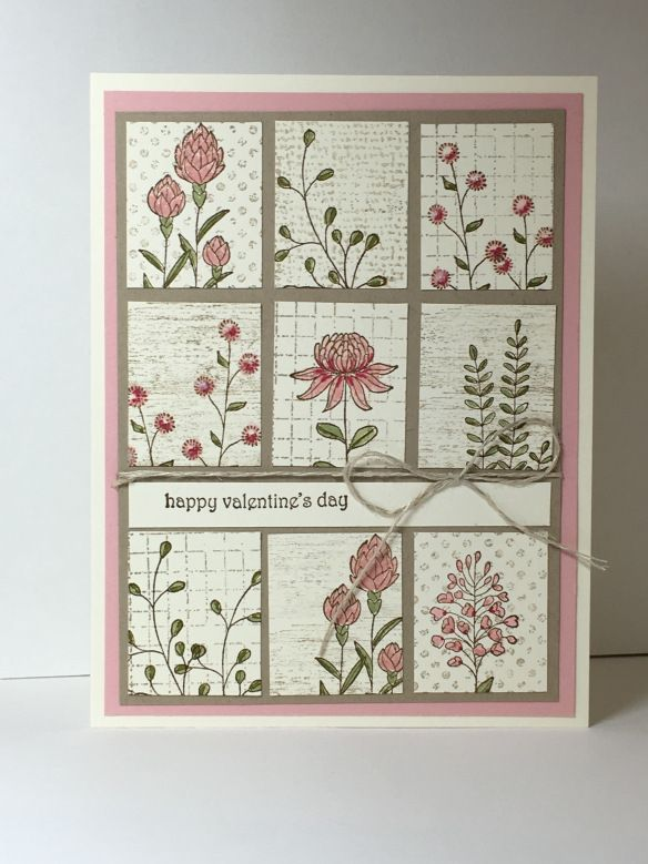 handmade card from Maui Stamper Flowering Fields in Blushing Bride .. grid of stamped images ... Stampin' Up!