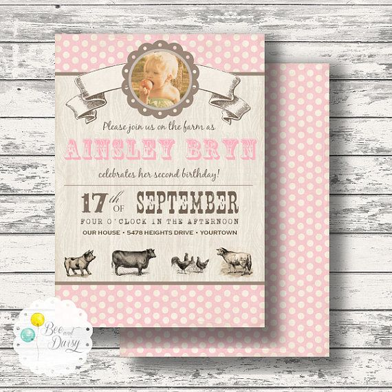 Vintage Farm Invitation for Birthday Party or Baby Shower - Girls Pink Barnyard DIY Printable Invite by BeeAndDaisy