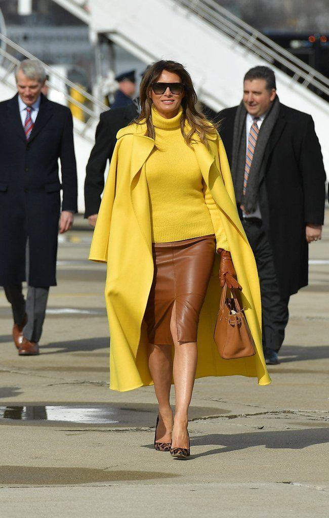 Melania Trump Treated The Airport Tarmac Like Her Personal Runway In This 5 000 Coat Trump Fashion Milania Trump Style Yellow Fashion