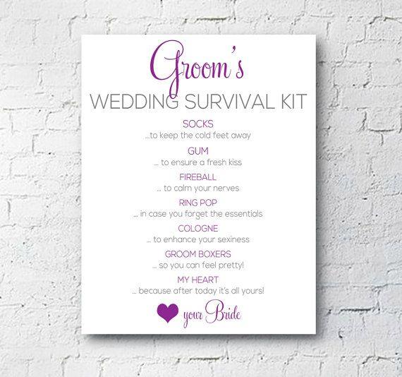 Wedding Groom Survival Kit Sign Modern Glam By Exprescel