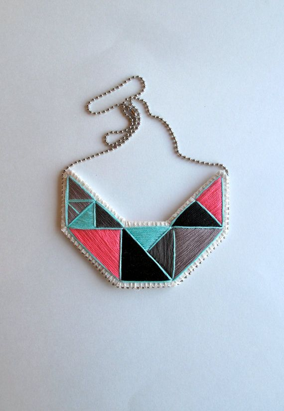 Embroidered #geometric #bib-necklace by #AnAstridEndeavor @Etsy @SFetsy Team