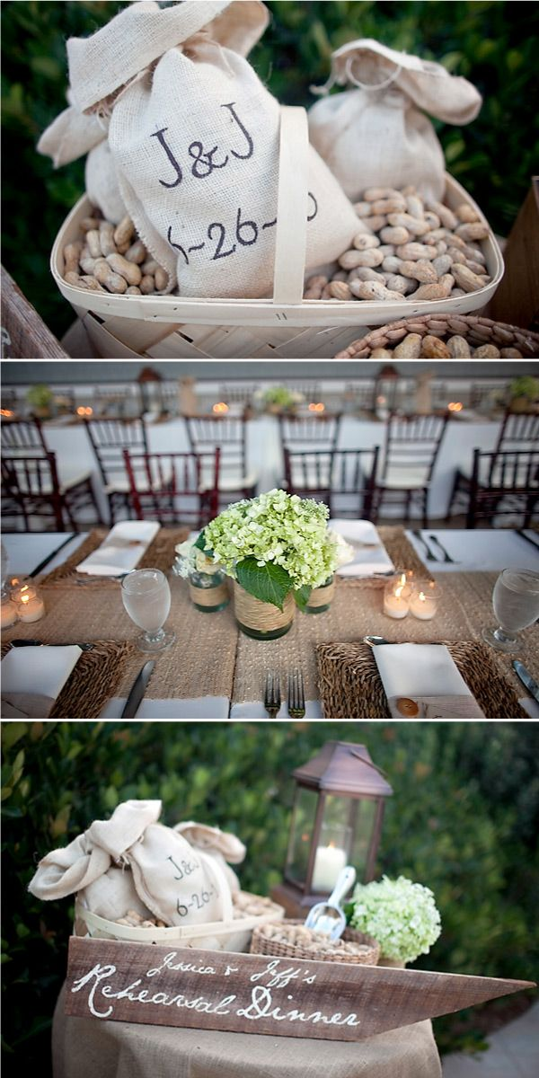 rehearsal dinner ideasIdeas, Tables Sets, Rehearsal Dinner, Burlap Decor, Rustic Chic Wedding, Tables Runners, Centerpieces, Style Me Pretty, Hydrangeas