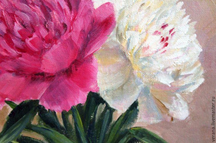 Купить Картина маслом. Пионы. Натюрморт с цветами - розовый, картина цветов, картина натюрморт