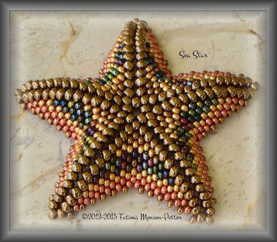 Pattern only - PDF Instant Download  Sea Star - all about the shape Size 2 1/2 inches - 60mm with 8/0 and 11/0 Techniques: circular peyote, herringbone Difficulty Level: INTERMEDIATE+ Seed beads used on the primary picture: 8/0 Toho Metallic Dark Bronze 11/0 Miyuki Metallic Light Bronze 11/0 Miyuki MIX Heavy Metals 11/0 Miyuki DC Pink Blush 11/0 Miyuki Galvanized Yellow Gold   I wanted to make a necklace with sea stars hanging on a herringbone rope to b...