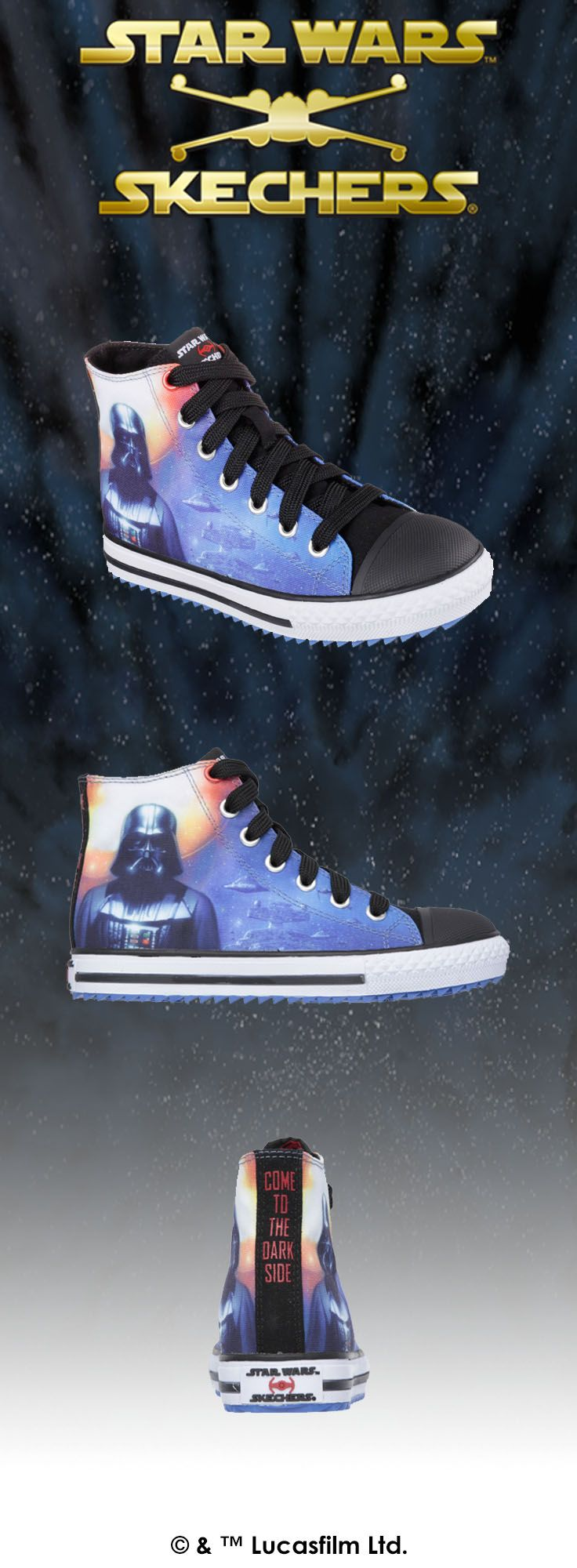 Come to the dark side with Darth Vader™ in cool high top Star Wars™ Skechers kicks. | http://spr.ly/6009BuHkx