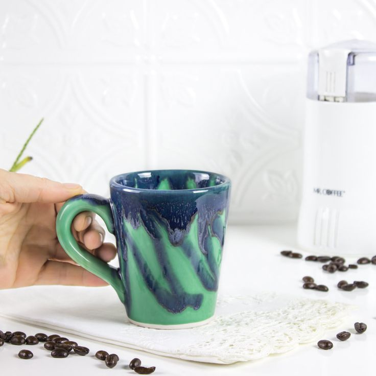 Ceramic Coffee mug, BlueRoomPottery Green w/drips Colorful Cute cone tea cup handmade pottery Kitchen gift