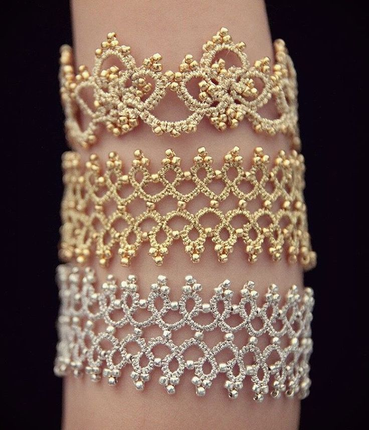 "199 Me gusta, 9 comentarios - Tatting Louisa (@tatting_lu) en Instagram: ""#Tatting #bracelets I made for friends last week. My 4 year old daughter is the arm #model and she…"""
