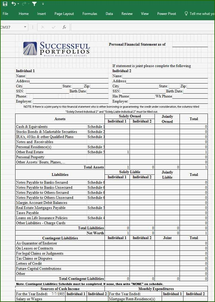 Personal Financial Statement Template Excel 14 Thought With Photo Income Free