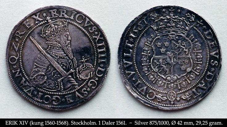Erik XIV. Stockholm. 1 Daler 1561.