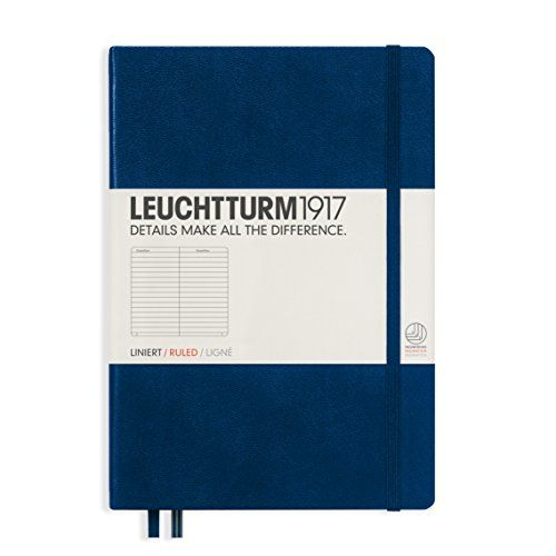 LEUCHTTURM1917 342922 Notebook Medium (A5), 249 numbered pages, ruled, navy