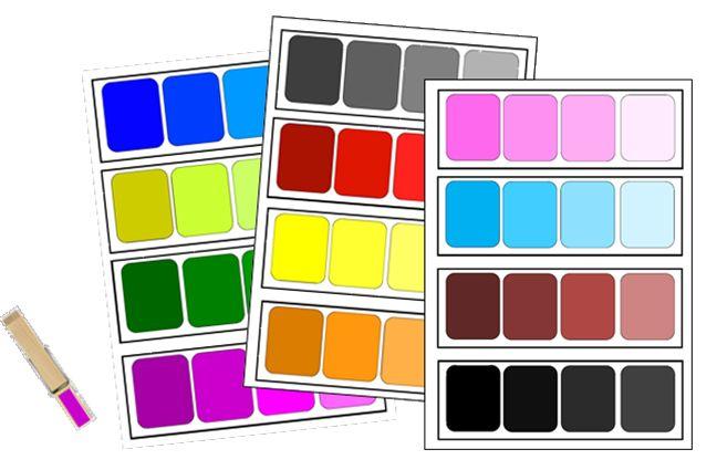 nuancier Montessori à imprimer et à utiliser avec des pinces à linge