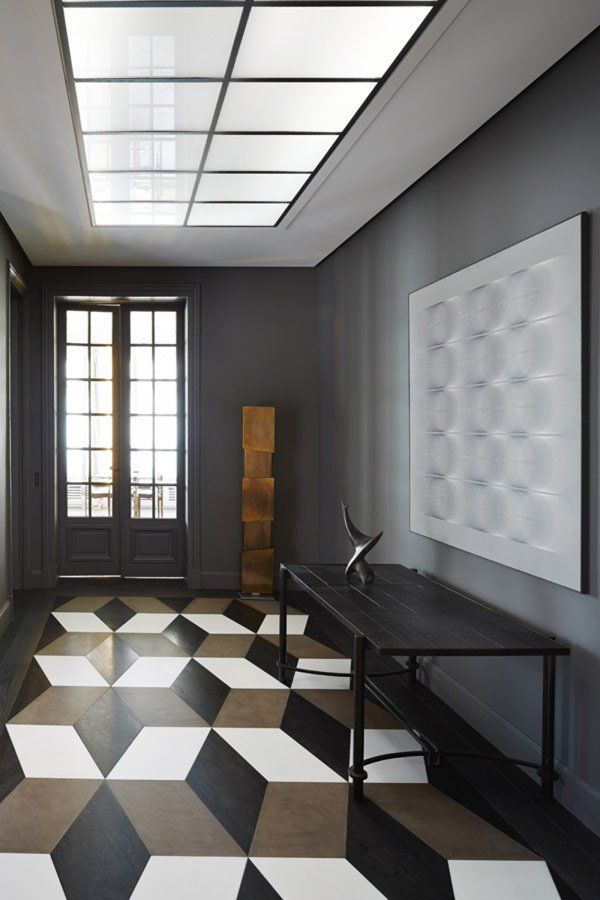 Geometric Floor, Brown White and Black, and Dark Dove Gray Eggshell Wall Color. Apartment Foyer Remodel, by Sarah Lavoine, Interior Design.