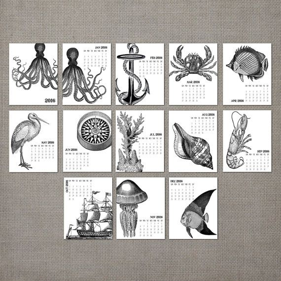 2016 Monthly Wall Calendar, 2016 Calendar, Wall Calendar, Gift, Monthly Calendar Vintage Nautical, (cal0002)