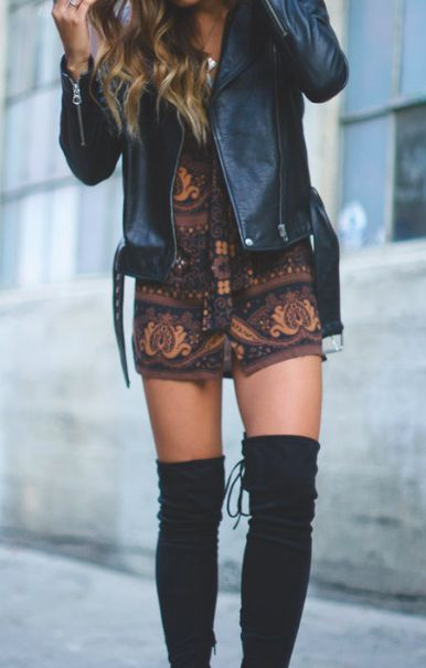 //Pinterest @esib123 // #style #inspo leather jacket and knee high boots with…
