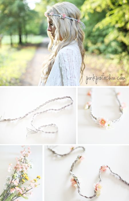 DIY Flower Headband by Pink Pistachio - #DIYflowerheadband #headband #DIYheadband #DIYhairaccessory #flower #hairstyle #hair - bellashoot.com