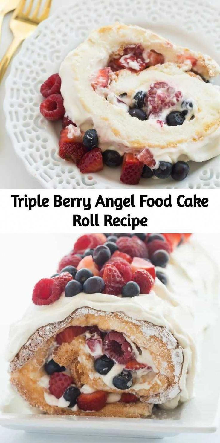 This Triple Berry Angel Food Cake Roll is an easy red, white and blue dessert (o…