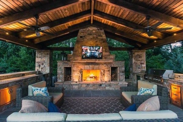 Top 60 Best Outdoor Kitchen Ideas Chef Inspired Backyard Designs Backyard Fireplace Outdoor Covered Patio Backyard Pavilion