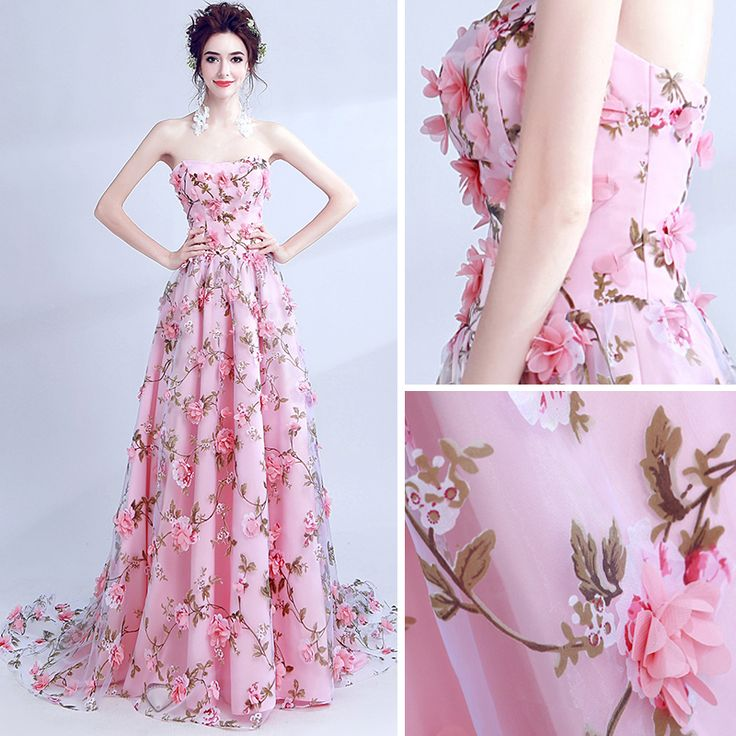 Flower Fairy Candy Pink Prom Dresses 2017 A-Line / Princess Sweetheart Sleeveless Appliques Flower Printing Chapel Train Backless Formal Dresses