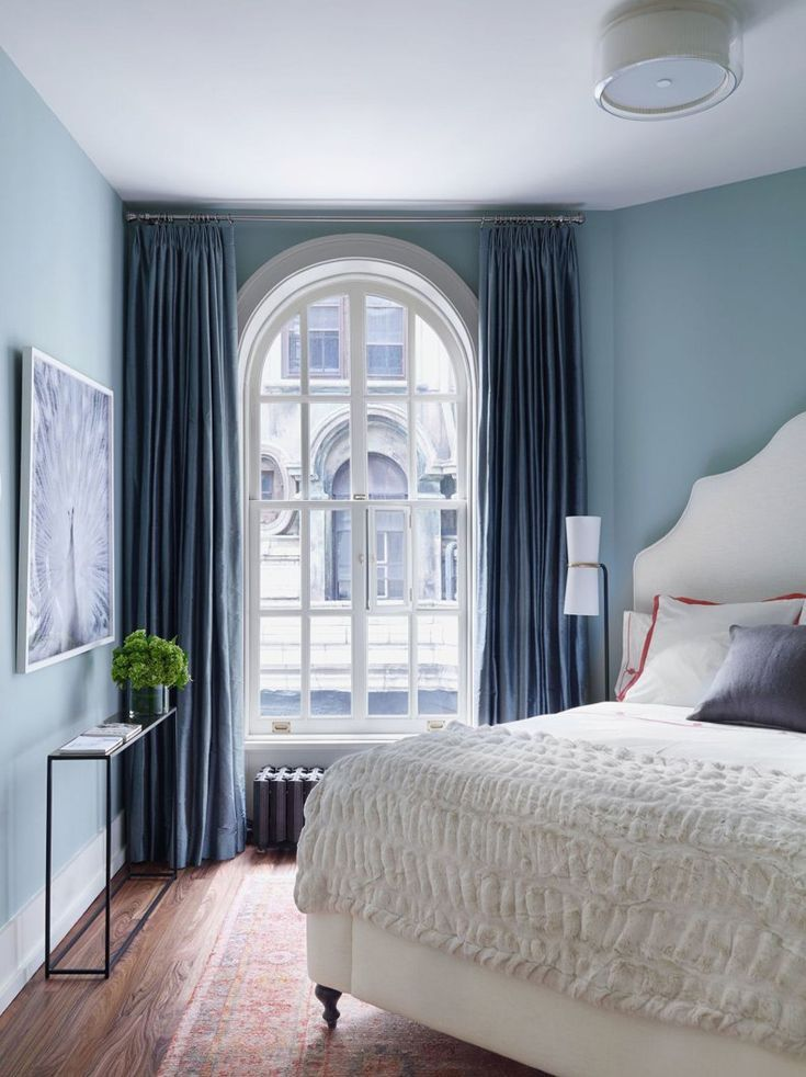 Blue Paint Small Bedroom With Large Curtains | TheBestWoodFurniture.com