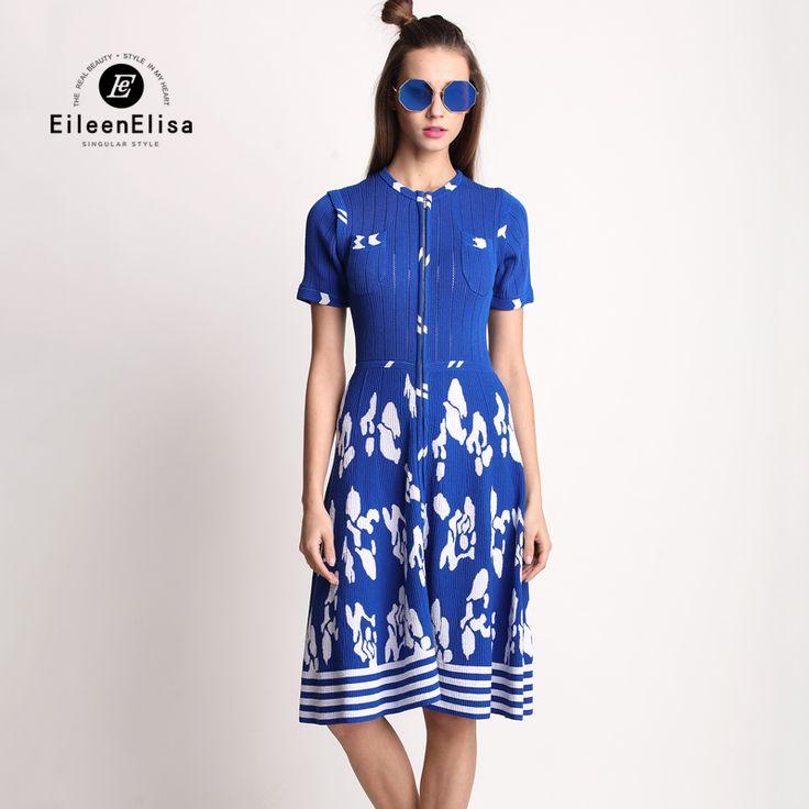 Dark Blue Dresses Women Runway Dress 2017 Spring Autumn Long Sleeve Knit Dresses Sexy Front Zipper Dress With Pockets Printing