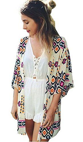 """Taydey Women Flowy Sheer Crop Sleeves Loose Chiffon Kimono Cardigan Blouse Top White. WOMEN'S SHEER CHIFFON COVER-UPS FEATURES:Open front;no closure,unlined;Allover lasercut design;Mid long kimono sleeves:12.20in;Allover tribal print;Hits between hip and knee,CLOTHING LENGTH:31.5in. ONE SIZE FITS US SIZE XS-L,RELAXED FIT:Model Information:Bust 31"""",Waist 25"""",Hips 34"""",Height 5'7"""".Im 5'12 and about 120lbs,My Size:Bust:37in,Waist:29in,Hips:39in,US SIZE M,relaxed…"""