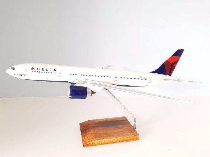 Boeing 777-200LR Delta Air Lines 'Spirit of Atlanta' N702DN Wooden model 1/100 #DesktopDisplayModel