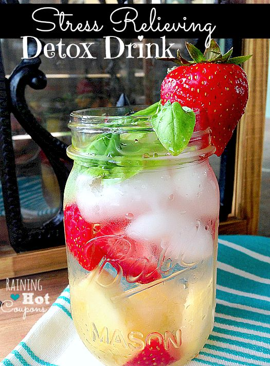 Stress Relieving Detox Drink - This always makes me feel SO much better when I drink it! I try to drink it a couple times a week! Recipe here -- http://www.raininghotcoupons.com/stress-relieving-detox-drink