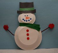 Paper Plate Snowman Craft - This is what the Pre-K 4's made last year as their Christmas Party!!