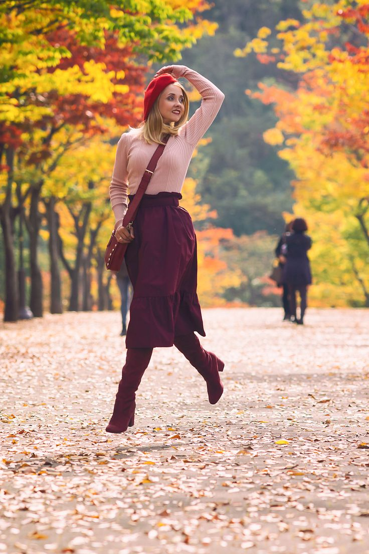 red beret wine purple skirt wine over the knee boots red cross body bag