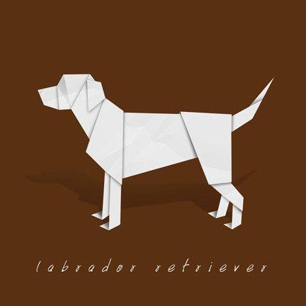 Labrador Retriever art - dog art print of origami design