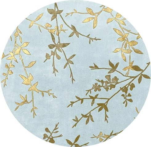 Tamira Asian Style Teal U0026 Golden Brown 8u0027 Round Area Rug