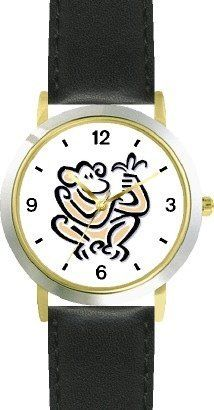 Monkey with Banana Monkey Animal - WATCHBUDDY® DELUXE TWO-TONE THEME WATCH - Arabic Numbers - Black Leather Strap-Children's Size-Small ( Boy's Size & Girl's Size ) WatchBuddy. $49.95