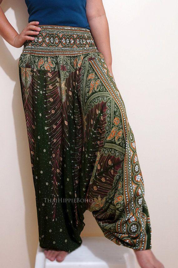 Elegant Peacock Feather Boho Harem Pants/ Hippie Pants/ Gypsy Aladdin Genie Pants/ Yoga Pants/ Wide Leg Pants on Etsy, $20.00