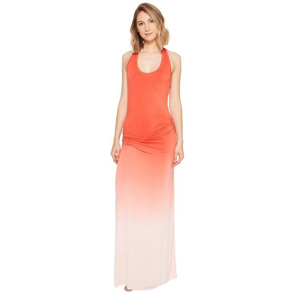 Young Fabulous & Broke Hamptons Maxi Dress (Hot Orange/Ombre) Women's... ($212) ❤ liked on Polyvore featuring dresses, red orange dress, maxi dress, jersey dress, racerback maxi dress and tie dye maxi dress