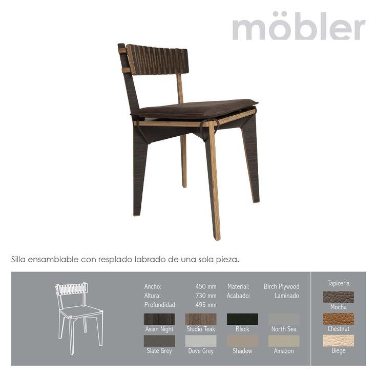 Silla W Silla ensamblable con respaldo labrado de una sola pieza. Möbler - Trennbar.