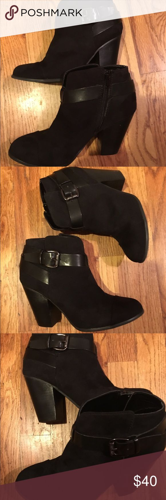 Carlos by Carlos Santana black harvest booties Carlos Santana booties faux suede with leather straps worn once Great condition with minor wear on heels .size 6 Carlos Santana Shoes Ankle Boots & Booties