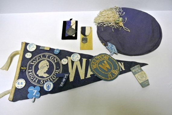 Set of Walton High School Memorabilia Graduating Class of 1946 and other medals, banners and beret souvenirs upcycle craft project REDUCED