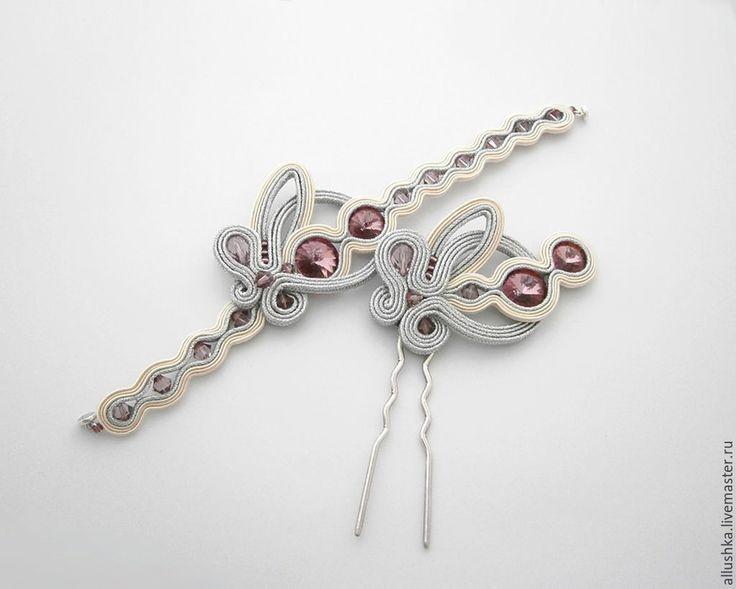 Купить Комплект сутажных украшений - серебряный, сутаж, сутажные украшения, сутажная вышивка, сутажный браслет