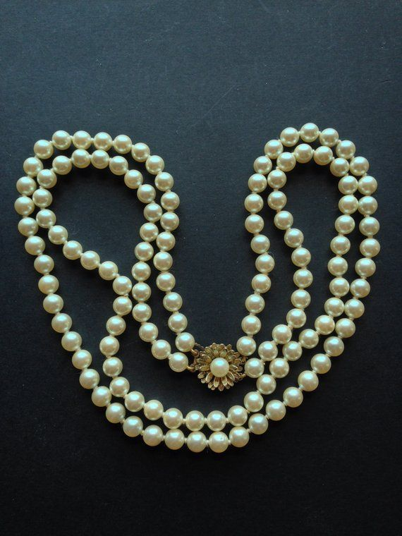 925 Silver Clasp Vintage Light Blue Elegant Beaded Pearl Necklace Feat