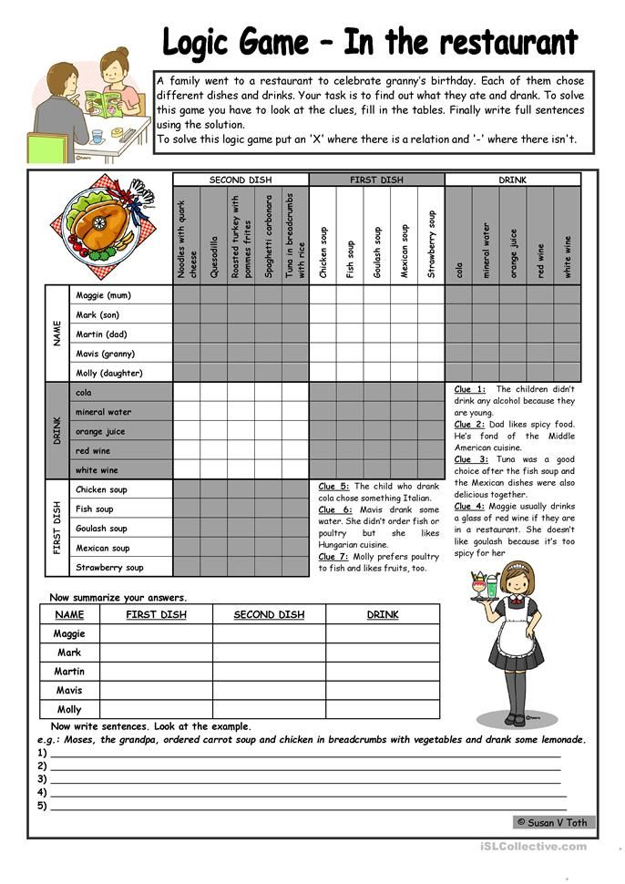 Logic Game 46th In The Restaurant With Key Fully Editable B W English Esl Worksheets Logic Games Logic Games For Kids Logic Puzzles