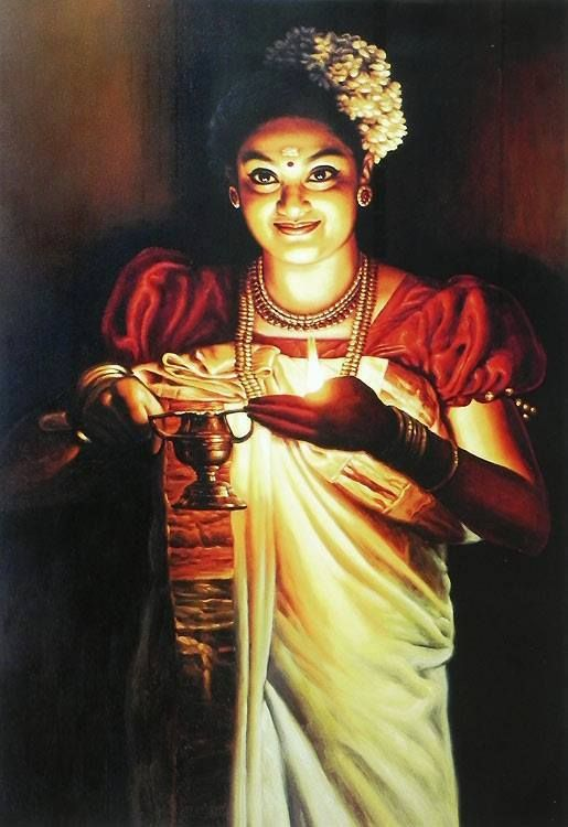 PAinting of a  Kerala Woman With Deepa