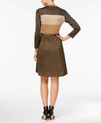 Calvin Klein Belted Metallic Colorblocked Sweater Dress, Regular & Petite Sizes - Black/Gold XL