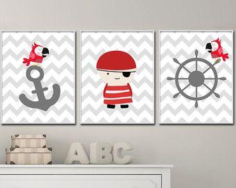 Impresión de pared niños piratas y barco imprimir por HopAndPop