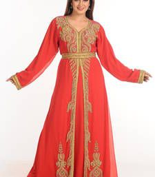 Buy Red arabian islamic kaftan crystal-abaya online