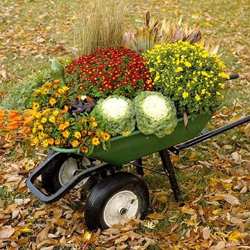 Put together a colorful outdoor fall display using a sturdy wheelbarrow as a base. More fall decorating ideas: http://www.midwestliving.com/homes/seasonal-decorating/easy-fall-decorating-projects/