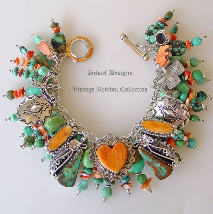 Charm Bracelet Ideas: Schaef Designs Turquoise And Spiny Oyster Charm Bracelet