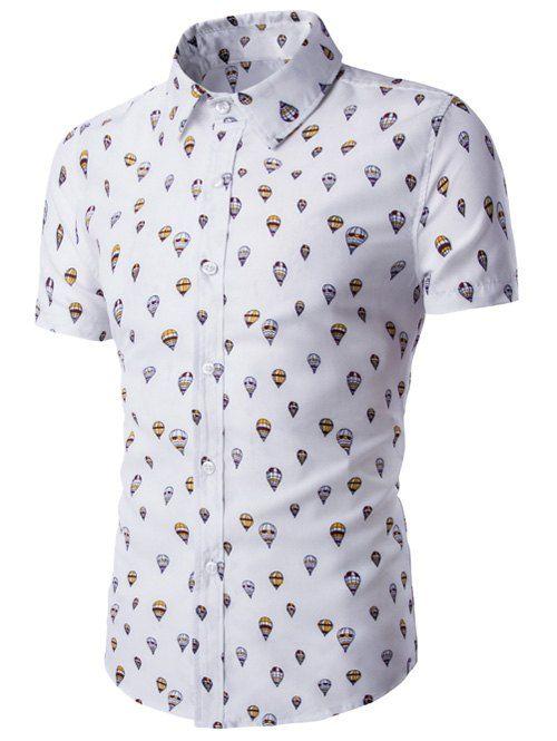 Fire Balloon Printing Fitted Shirt Collar Short Sleeves Shirt For Men #women, #men, #hats, #watches, #belts