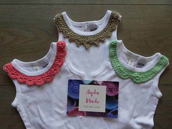 Baby girl onesie / bodysuit with crochet collar embellishment