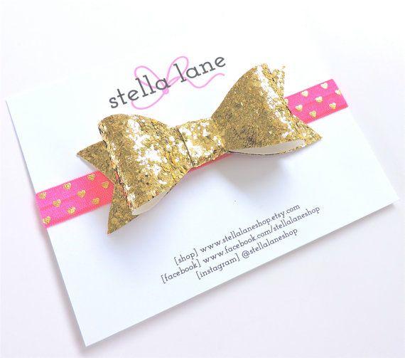 Gold Chunky Glitter Bow with Hot Pink Gold Heart FOE Headband - baby girl - glitter headband - heart headband - photography prop