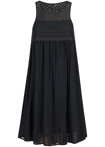 Eight2Nine Damen Midi Kleid oben gehäkelt leicht fallend by Rock Angel schwarz - Art.-Nr.: 17021593